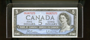 1954-Bank-of-Canada-5-Beattie-Rasminsky-UNC-light-stain-WL31