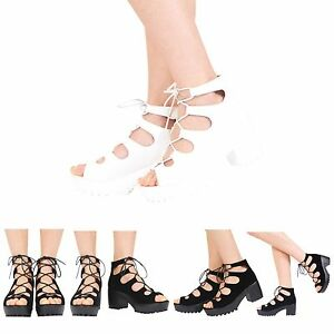 bec989c17831 WOMENS CHUNKY CLEATED SOLE LADIES PLATFORM LACE UP BLOCK HEEL SHOES ...