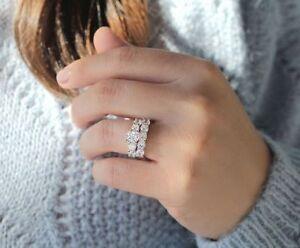 Ladies-14K-White-Gold-Diamond-Engagement-Ring-Wedding-Band-Bridal-Set-2-50-Ct