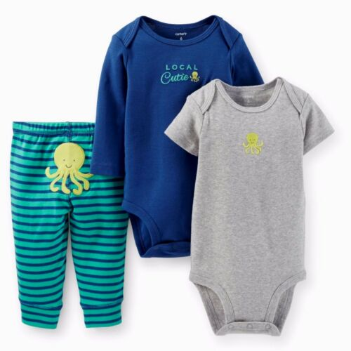 CARTER/'S NEWBORN BABY BOY GIRL 3PC LOCAL CUTIE BODYSUITS PANT CLOTHES SET OUTFIT