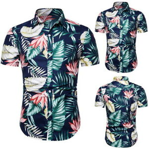 102033d2 Image is loading Men-Hawaiian-Shirts-Beach-Party-Button-Down-Summer-