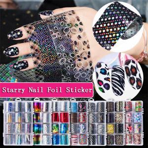 Details about Manicure Decor Laser Transfer Nail Art Stickers Nail Foils  Leopard print Starry
