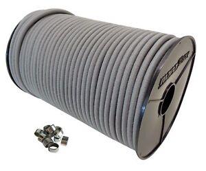 20 Spiralhaken Gummileine Planenseil Seil Plane in Weiss 6mm Expanderseil 20m Gummiseil