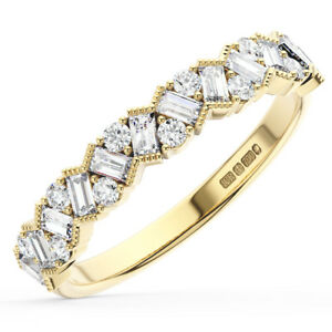 0-75Ct-Round-amp-Baguette-Diamond-Half-Eternity-Wedding-Ring-in-18K-Yellow-Gold