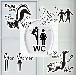 Wandtattoo-Stinktier-Pups-Zone-WC-Pipi-Lounge-Bad-Toiletten-Tueraufkleber-Sprueche