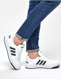 Adidas-Sneakers-Chaussures-sportif-Trainers-Shoes-Sport-HOOPS-2-0-Blanc-noir