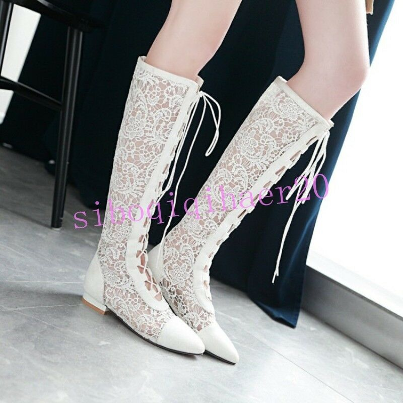 Casual Donna Knee High Stivali Shoes Hollow Out Cross Strap Low Block Heels Sizes