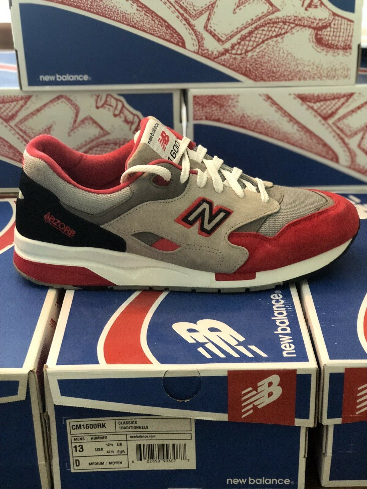 New Balance 1600 Red Grey Suede CM1600RK Men's 13 Ronnie Fieg Kith Concepts