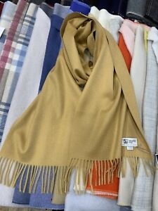 100-Pure-Cashmere-Scarf-Johnstons-of-Elgin-Made-in-Scotland-Camel-Soft
