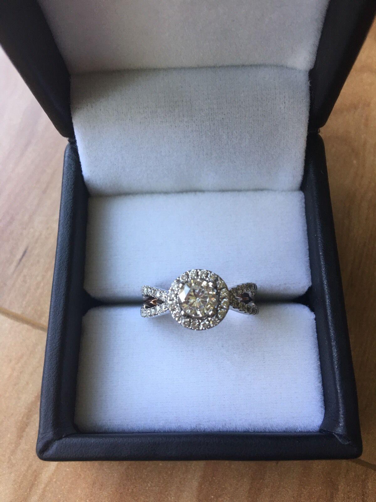 .40 Ct Diamond Halo Engagement Ring 14k White & pink gold Setting W  APPRAISAL