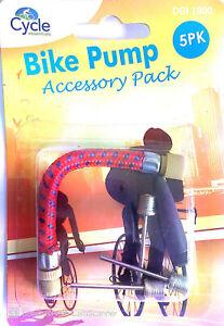 5Pcs PUMP ADAPTOR KIT Set Needle Valve Connector Football Airbed Bicycle Tyre UK