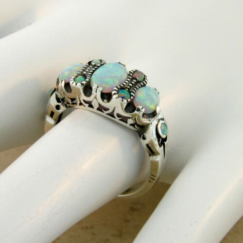 #143 ANTIQUE VICTORIAN STYLE LAB OPAL .925 SOLID STERING SILVER RING