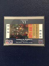 DALLAS COWBOYS  1990 Pro Set Super Bowl VI Ticket Stub #6  MINT