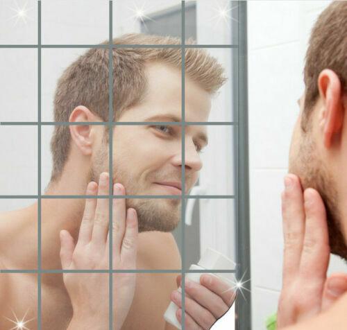 UK salle bains miroir carreaux Stickers muraux carré auto-adhésif décor réflé SH
