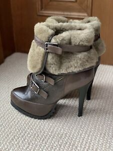 ASH-High-Heel-Leather-Fur-Booties-Very-Gently-Worn-LikeNew-Condition