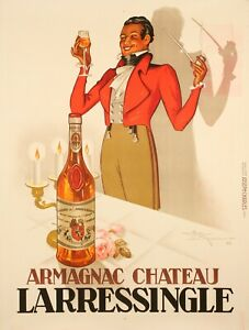 Affiche-Originale-Henri-Lemonnier-Armagnac-Chateau-Larressingle-1938