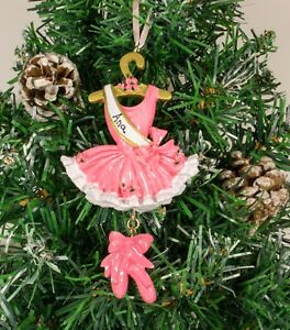 Image Is Loading Personalised Christmas Tree Ornament Decoration Pink Ballerina
