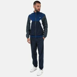 Men-039-s-Lacoste-Colourbock-Polyester-Tennis-Zip-Jacket-and-Pants-Tracksuit-in-Blue