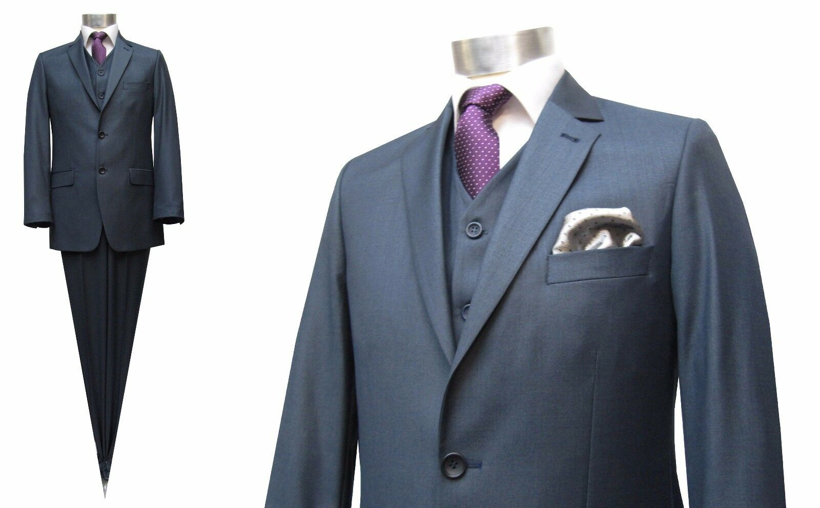 Herren Anzug 3 teilig Gr.46 blaugrau