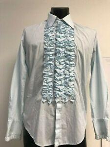 Retro Blau Rüschen Smoking Shirt