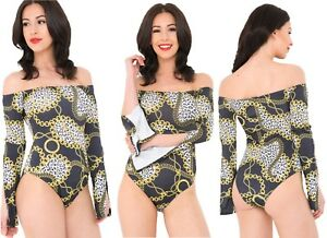 Womens Animal Print Body Bodysuit Leotard Top Bodies Ladies Tiger Print NEW UK