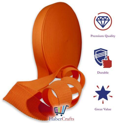Orange 25mm Cotton Webbing Tape Strapping 1 Inch Belt Strap Bag Making Apron