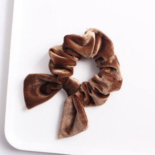 Solid Color Velvet Hair Scrunchie Knot Hair Tie Bows Rabbit Ear Elastic Ponytail