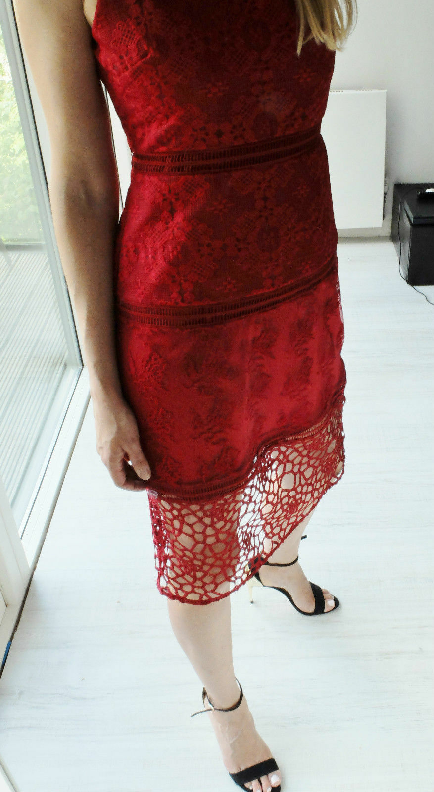 ZARA RED CONTRAST EMBROIDERED DRESS WITH LACE SIZE MEDIUM REF.1489 041