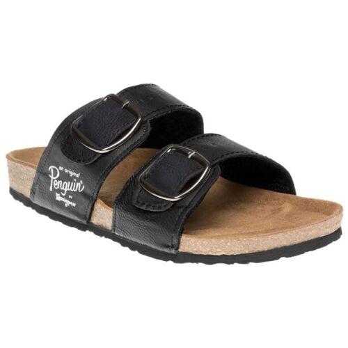 New Mens Penguin Black Port Synthetic Sandals Buckle Slip On
