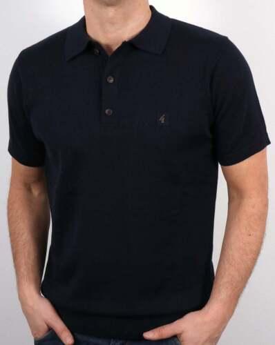 Gabicci Vintage Jackson Polo Shirt in Navy Blue short sleeve knitted polo