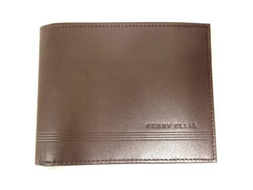 $75 PERRY ELLIS MENS PREMIUM BROWN LEATHER BIFOLD 7CC PASSCASE CARD RFID WALLET