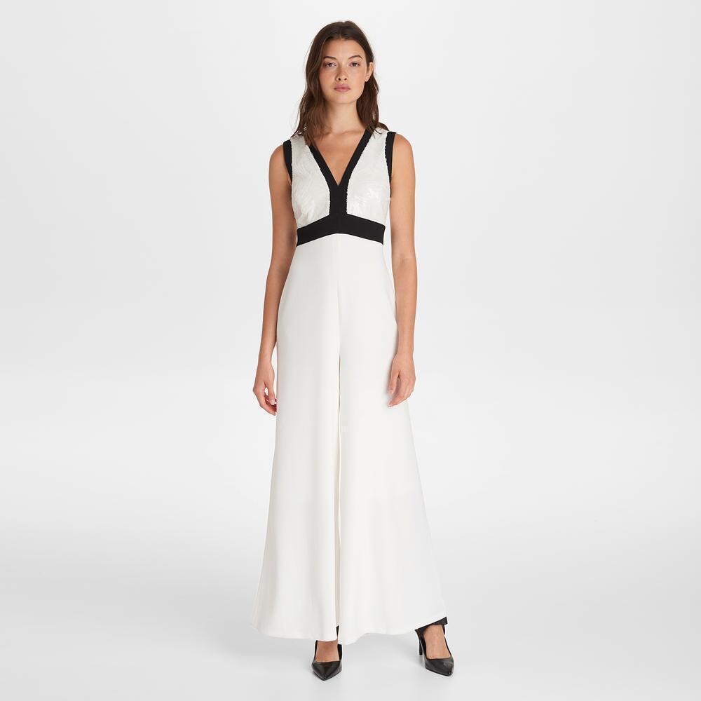 KARL LAGERFELD NwT Elegance @ its Beste IVORY V-neck Formal Sequin jump suit