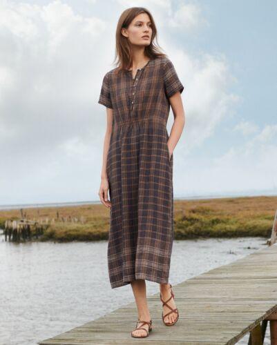 Poetry Linen Checked Dress Brown Lagenlook Size 16