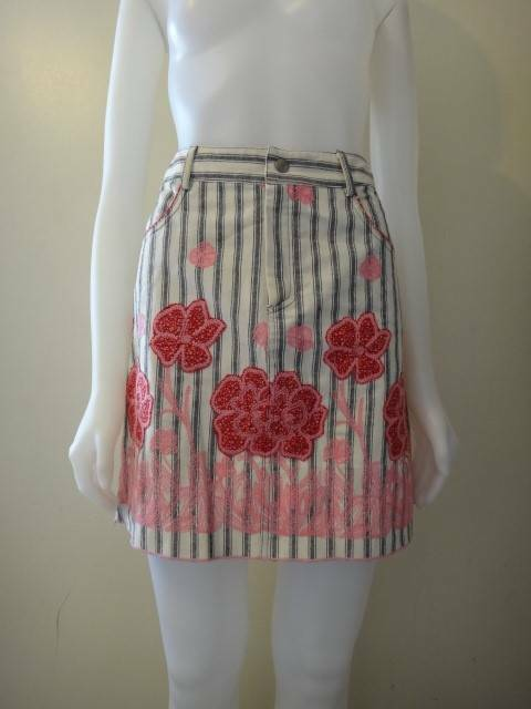 ANNA SUI Women's Off-White Striped Cotton Floral Embroidered Short Skirt Size 2