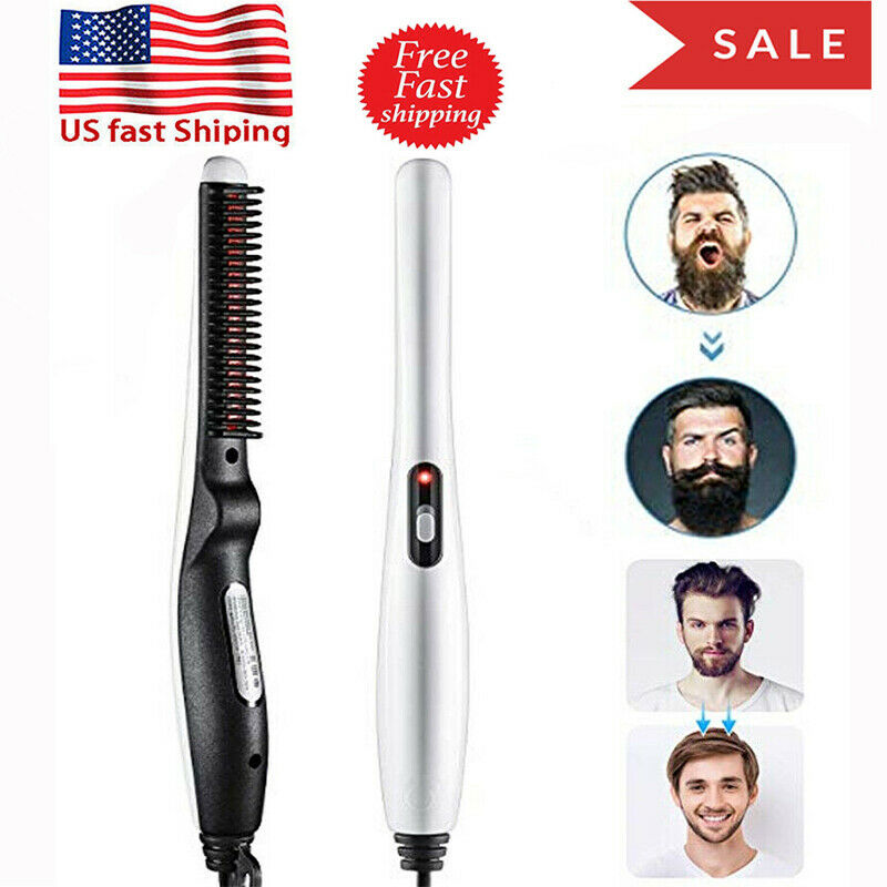 USPlug Pro Electric Straight Hair Beard Comb Straightener Qu