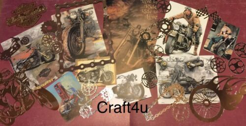 card toppers//paper die cuts,bundle joblot vintage Motorbike Craft clearout mix