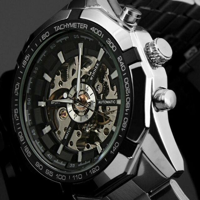 Men's Watch Automatic Mechanical Analog Stainless Steel Band Skeleton Dial Watch