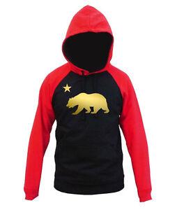 Men's Shiny Gold Cali Bear Black Red Raglan Hoodie California Dope Street Swag