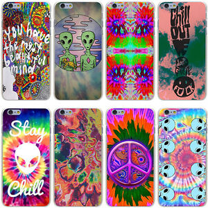Trippy Tie Dye Peace Sign Alien Hard Case Cover For Iphone Samsung