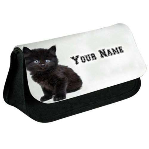 Personalised NAME CAT Printed Pencil Case Makeup Bag for Stationery 0007