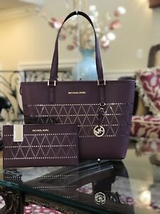 707f34123cf356 NWT,MICHAEL KORS JET SET TRAVEL MD CARRYALL LEATHER PLUM TOTE ...