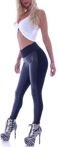 Damen Röhre High Waist Leggings Leder-Optik Jeggings Skinny Stretch hose S24