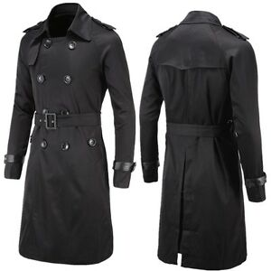 new release discount sale 2019 professional Details about New Men Slim Double Breasted Long Trench Coat Trenchcoat  Jacket Male Black Coat