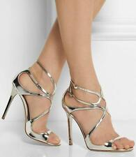 $895 JIMMY CHOO Metallic Silver LANG Size 37.5 Strappy Sandals Heels Shoes