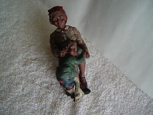 Collectible Hand Made African American Mother And Son Pottery Figure