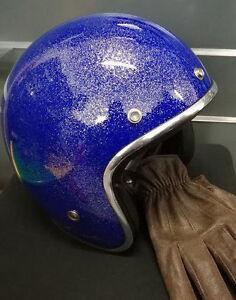 Casque-casco-helmet-jet-TORX-WYATT-BLEU-GLIT-Taille-L-59-60-VINTAGE-CAFE-VESPA