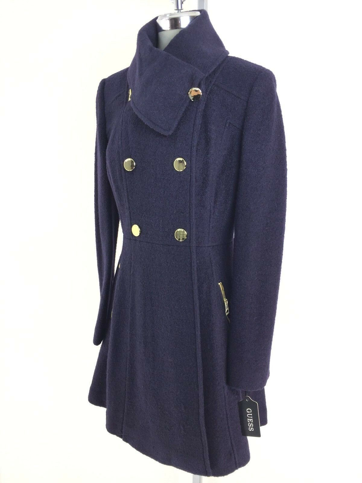 GUESS New WT Modern NAVY Shawl Collar Double Breasted Fit-&-Flare Coat S M L