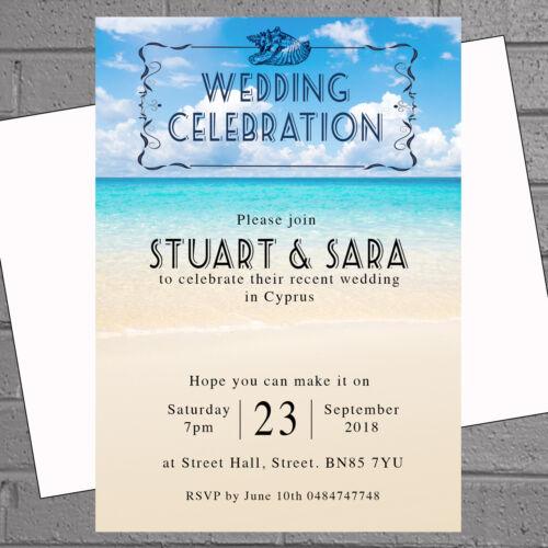 H1897 Beach Heart Wedding Abroad Wedding Reception Invitations x 12