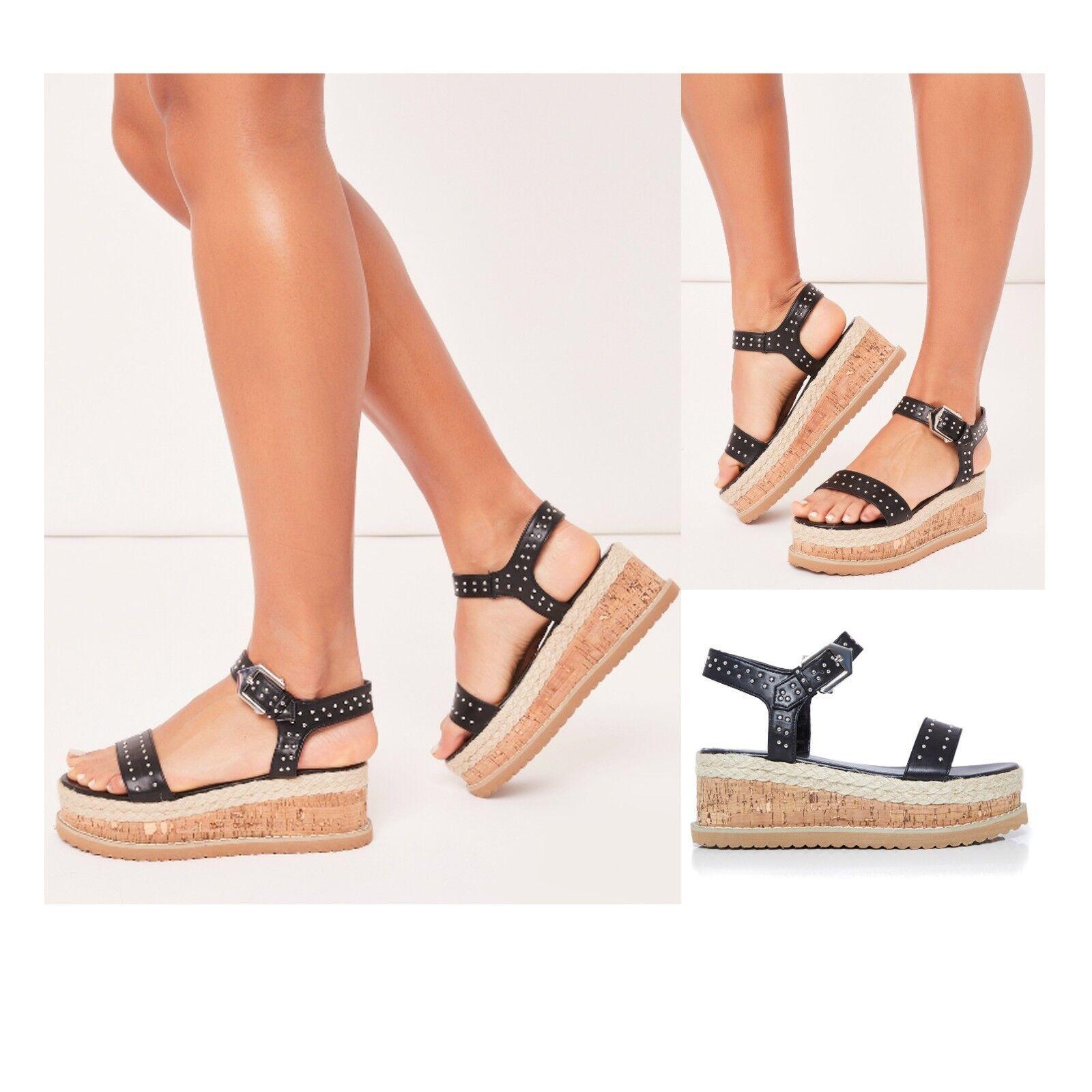Womens Ladies Flatform Platform Wedge Heel Sandals Flatform Ladies Studded Strappy Summer Shoes 0b35ad