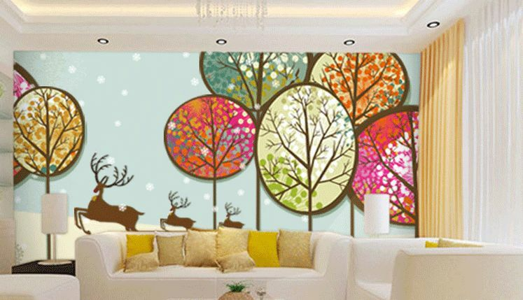 3D Abstract trees illustration Paper Print Decal Wall Deco Indoor wall Murals